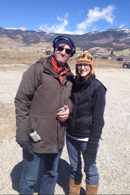 Hunt Baldwin and Emily Thomas on location