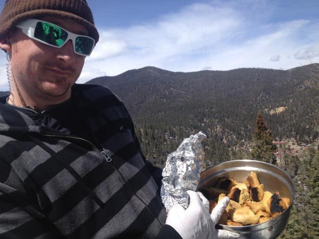 Shaun brought crew food on mountain