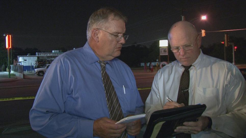 Detective David arrives on Dallas crime scene