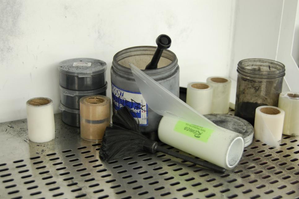 Dusting powder, brushes and tape pull fingerprints