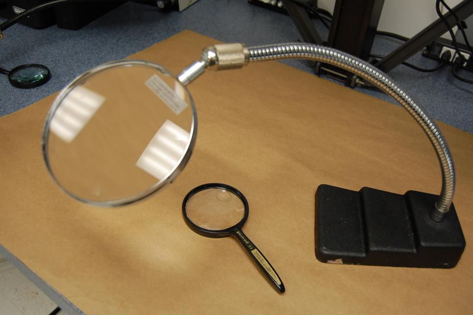 Magnifying glasses are frequently used