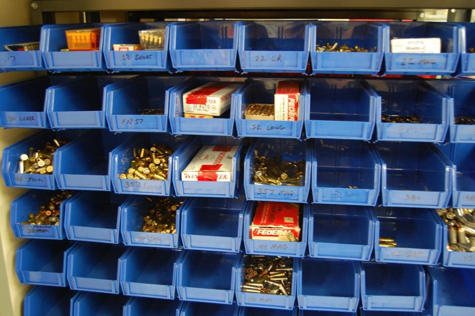 Bullets kept in In the ballistics lab