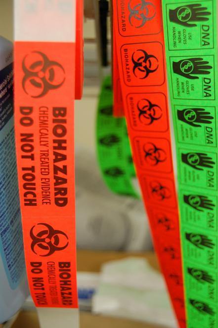 Stickers give Crime Lab technicians important info