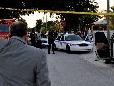 Officer crosses police line