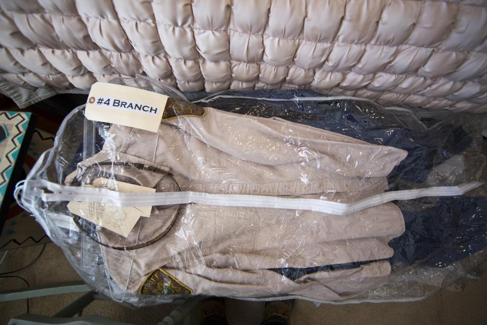 Branch's uniform wrapped for protection