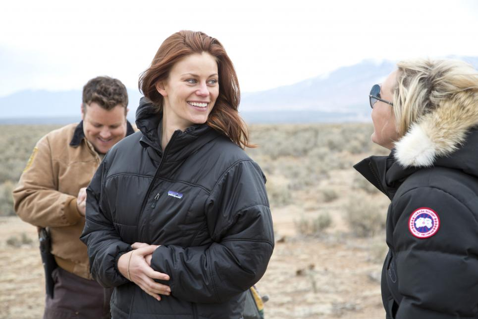 Adam Bartley and Cassidy Freeman joke with crew