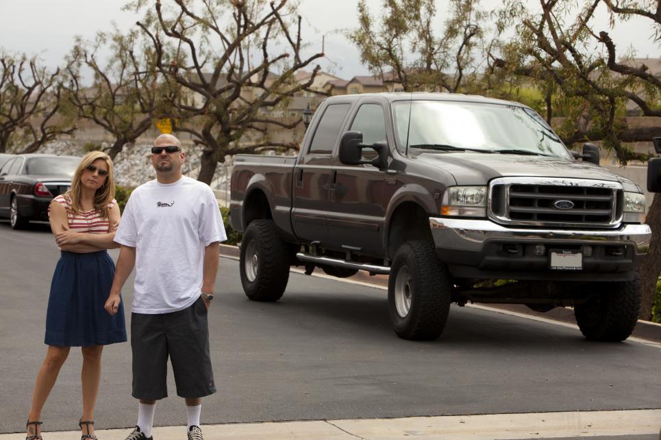 Brandi and Jarrod use pickup truck