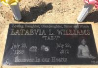 Lataevia Williams' headstone