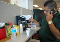 Detective Louis Rivera takes coffee break