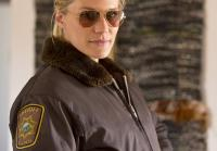 Katee Sackhoff is caught in Vic moment