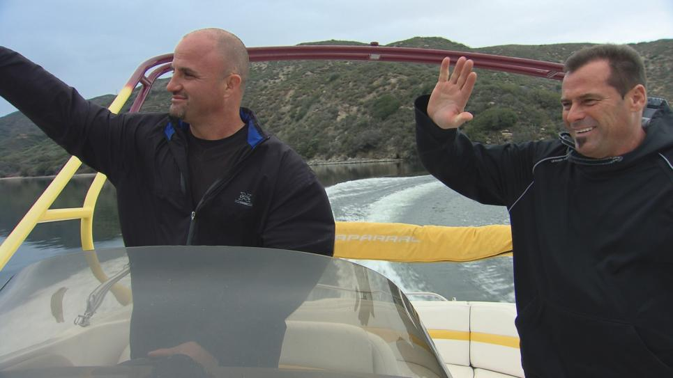 Steve and Antonio test drive deck boat