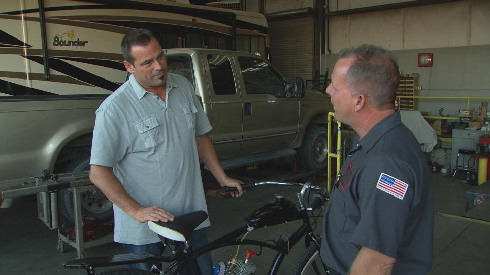 Antonio trades bike for air compressor