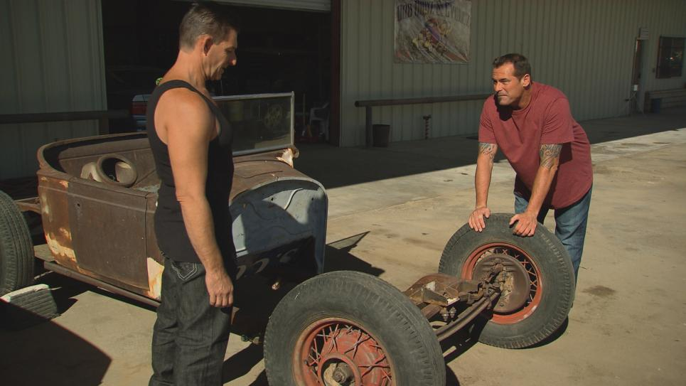 Antonio examines Rat Rod chassis