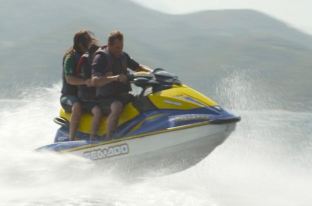 Antonio and his family ride jet ski