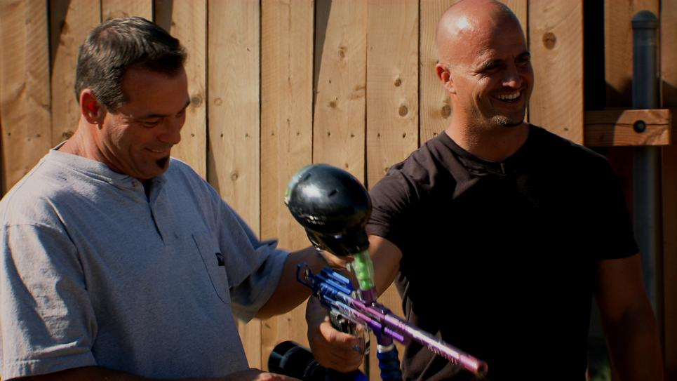 Steve and Antonio test paintball gun