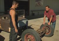 Antonio examines Rat Rod chassis