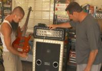 Antonio inspects 1969 bass amp