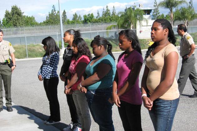 Teens wait to enter San Bernardino County Jail
