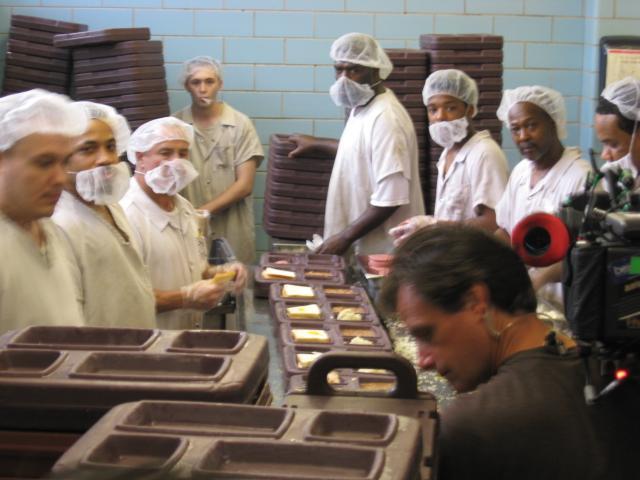 Inmates prepare food