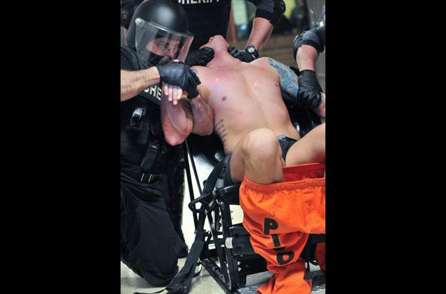 Oakland County inmate in restraining chair