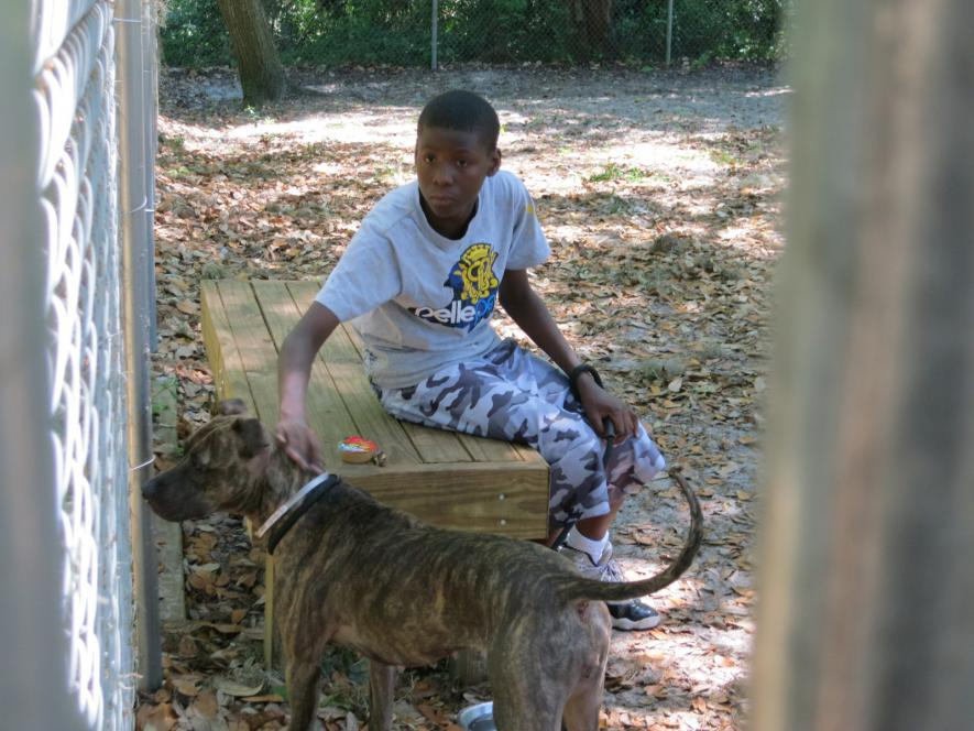 Kevon works with dog at Humane Society