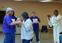 Inmates perform a skit