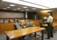 Lt. McGee and teens at  Fulton County Courthouse