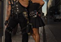 Dog and Beth pose dark alley