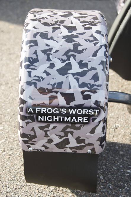 Jase's bumper sticker warns frogs