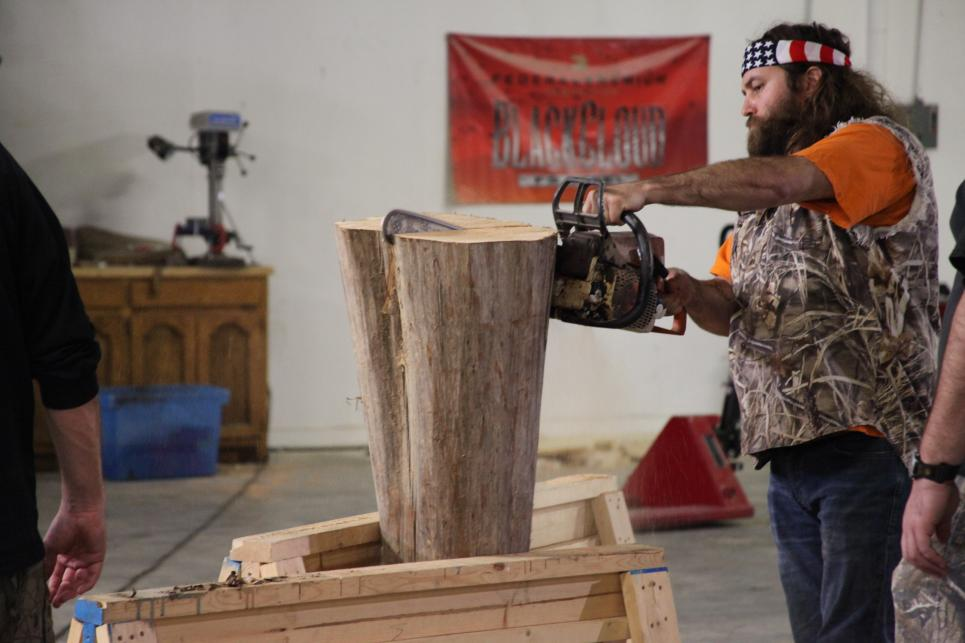 Willie helps make giant duck call