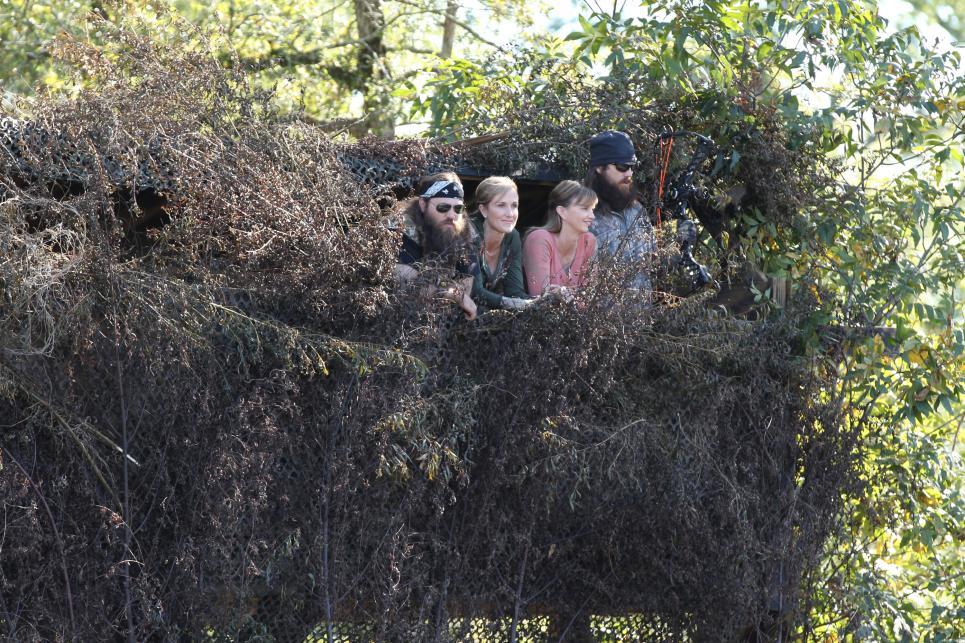 Robertsons hang out in deer blind
