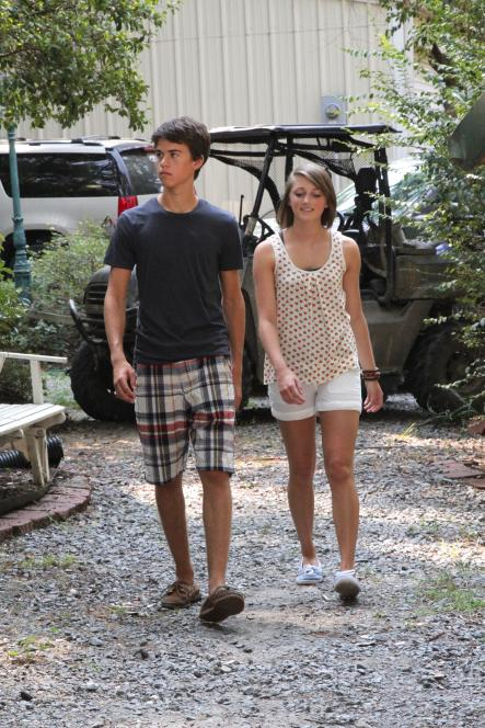 John Luke and girlfriend Emily arrive to fish