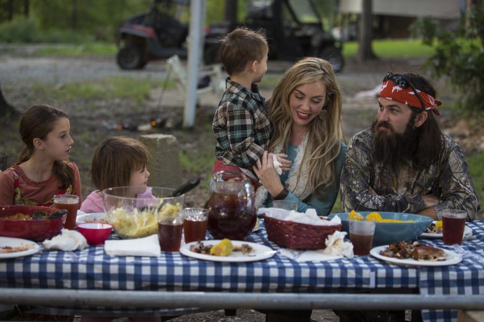 Jessica and Jep enjoy BBQ with kids