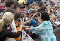 Kay  greets fans at Duck Dynasty 500