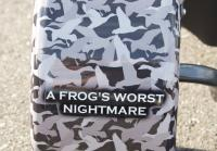 Jase's bumper sticker warns frogs