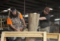 Willie and Justin  work on duck call