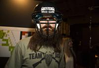 Jase dons helmet at camo shoot