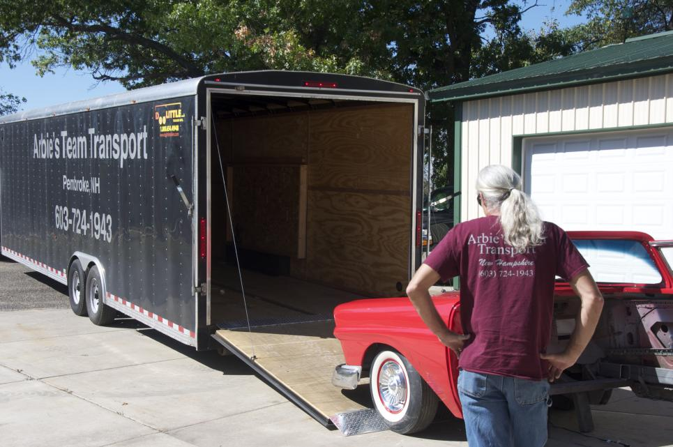Roy loads Ford Fairlane into trailer