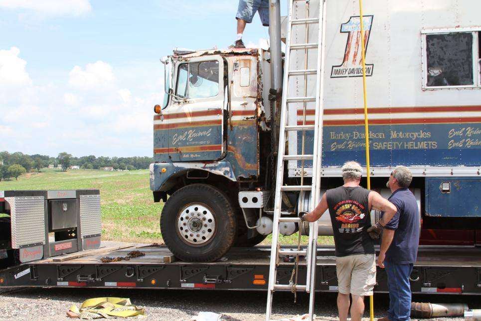 Marc secures Evel Knievel's truck
