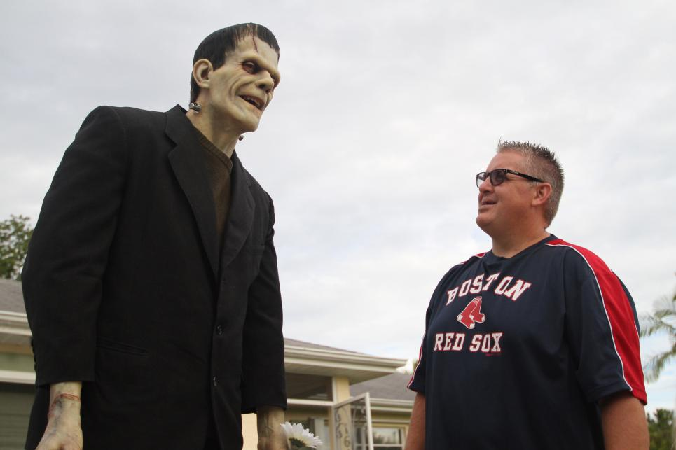 Movie prop collector loves Frankenstein statue