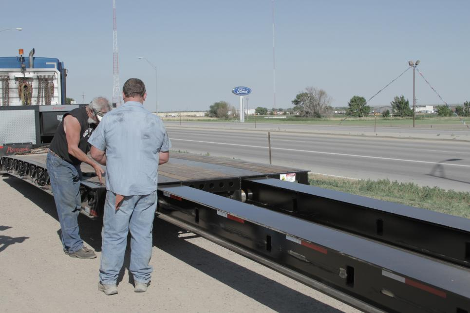 Marc preps to transport Greyhound Scenic Trailer