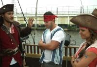 Chris and Robbie ship pirate swords