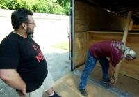 Roy and Pratt examine Willie Mays statue