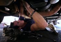 Jarrett installs new starter in car