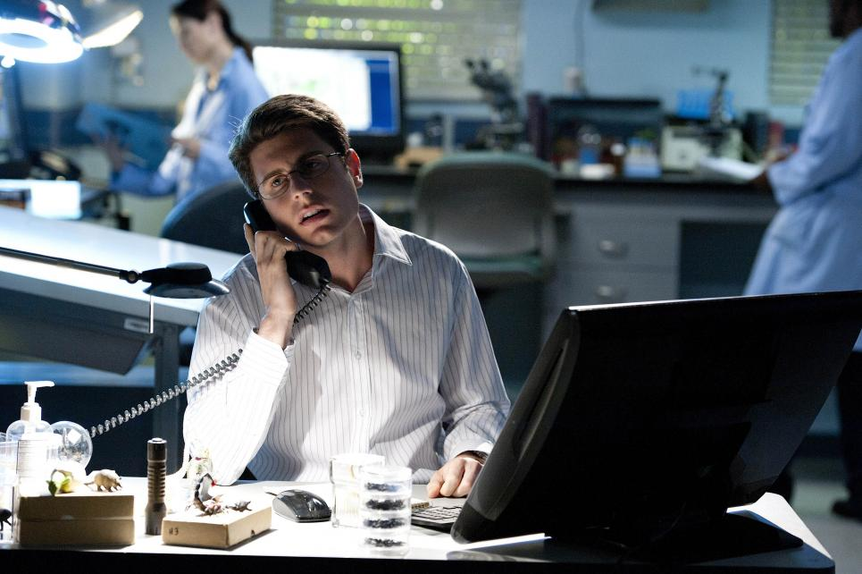 Daniel talks to Jim while he investigates