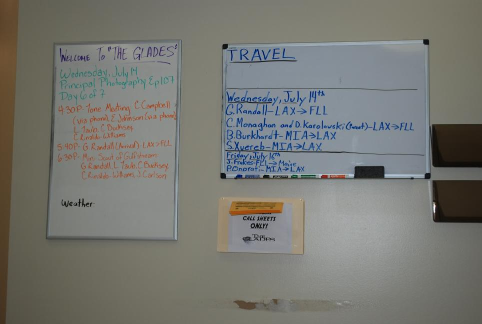 Travel and shoot schedule breaks down daily tasks