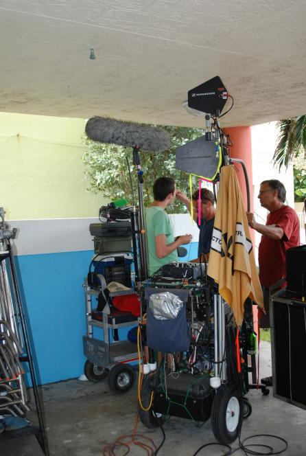 Boom mic prevents actors needing microphones