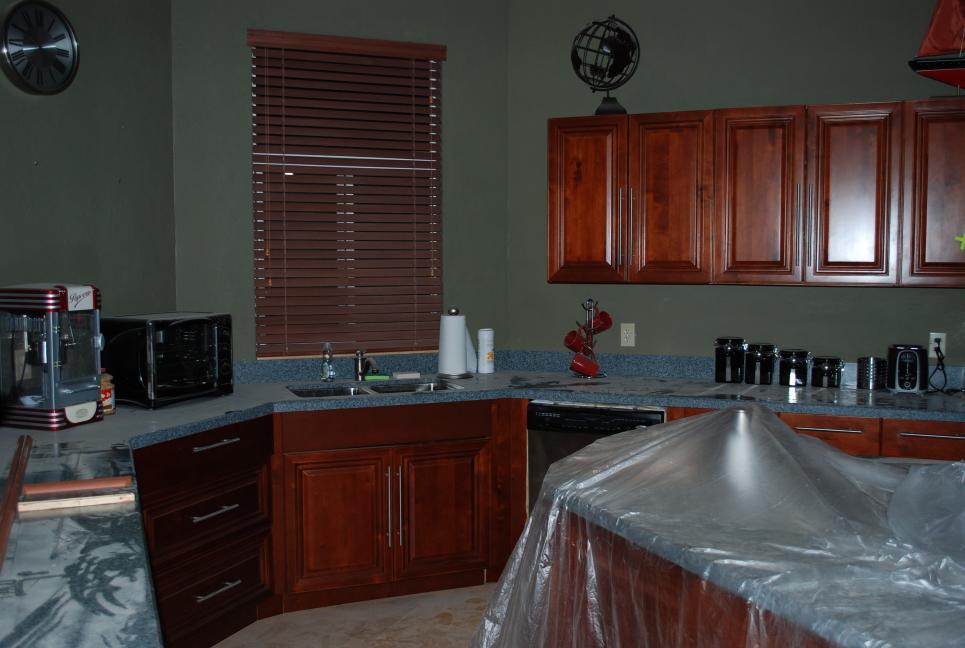 Longworth's kitchen under construction