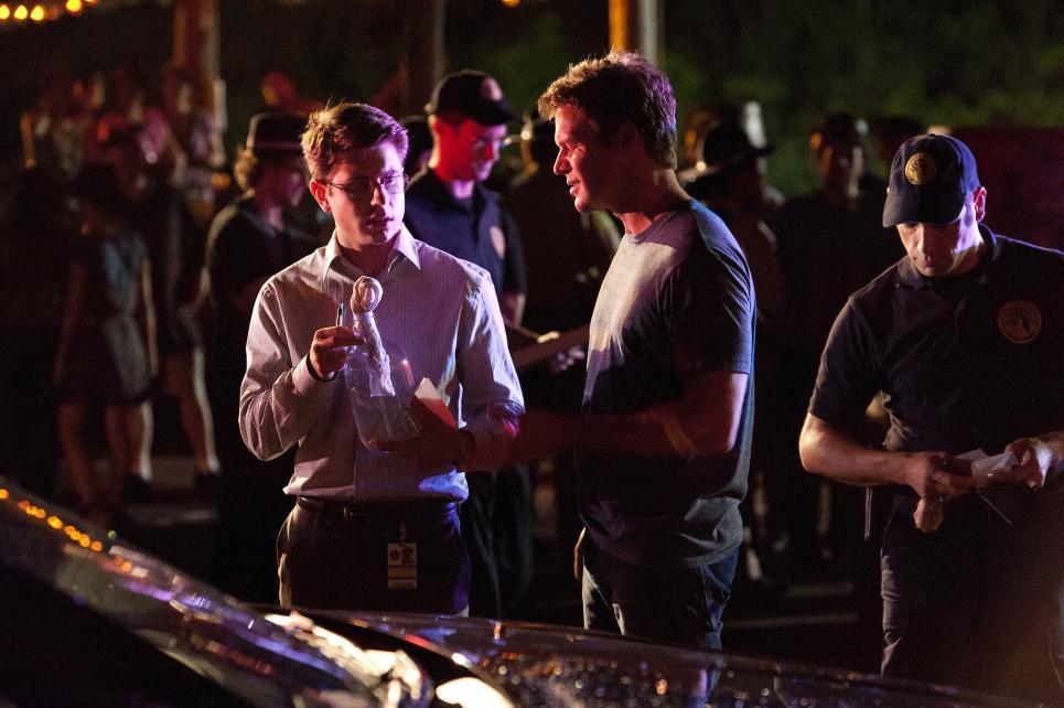 Jim asks Daniel to bring Molotov cocktail to lab