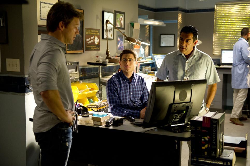 Jim, Daniel, and Carlos listen to voice recording